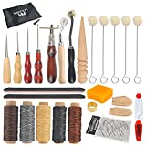 Leather Sewing Tools WOWOSS 33 Pieces Leather Tools Craft DIY Hand Stitching Kit with Groover, Awl, Waxed, Thimble Thread, Wax Rope, Leather Needle, Zipper Bag for Sewing Leather