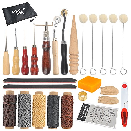 Leather Sewing Tools WOWOSS 33 Pieces Leather Tools Craft DIY Hand Stitching Kit with Groover, Awl, Waxed, Thimble Thread, Wax Rope, Leather Needle, Zipper Bag for Sewing Leather by WOWOSS