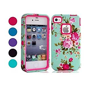 SOL Hot Selling Blue Floral Pattern Tough Armor PC and TPU Mobile Phone Case for iPhone 4/4s (Assorted Colors) , Green