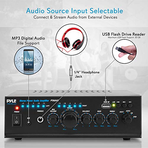 Pyle 2X120 Watt Home Audio Power Amplifier - Portable 2 Channel Surround  Sound Stereo Receiver w/ USB in - for Amplified Subwoofer Speaker, CD DVD,