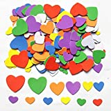 Foam Adhesive Hearts, 540-600pcs Mixed Foam Heart EVA Stickers,Self Adhesive DIY Craft Sticker Embellishment for Kids & Home Decoration (Colorful)