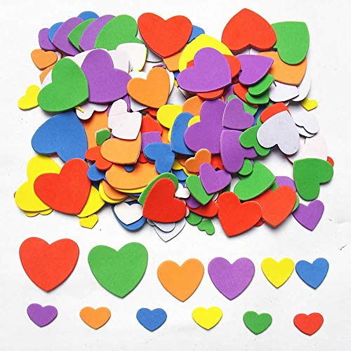 Foam Adhesive Hearts, 540-600pcs Mixed Foam Heart EVA Stickers,Self Adhesive DIY Craft Sticker Embellishment for Kids & Home Decoration ()