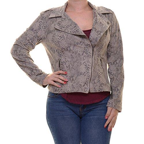 INC International Concepts Women's Snakeskin-Print Faux-Leather Moto Jacket (Medium, Snake Print)
