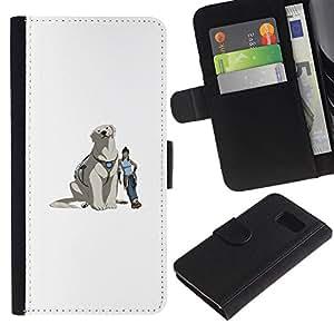 KLONGSHOP // Tirón de la caja Cartera de cuero con ranuras para tarjetas - Yeti perro - Samsung Galaxy S6 //