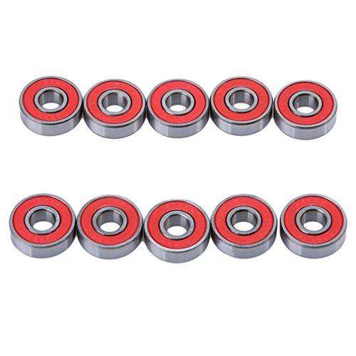 Edtoy 10PCS Mini Skater Generic Abec 9 Precision 608 Zz Bearing Skateboard Deck Longboard Red (Abec Bearings Ratings)