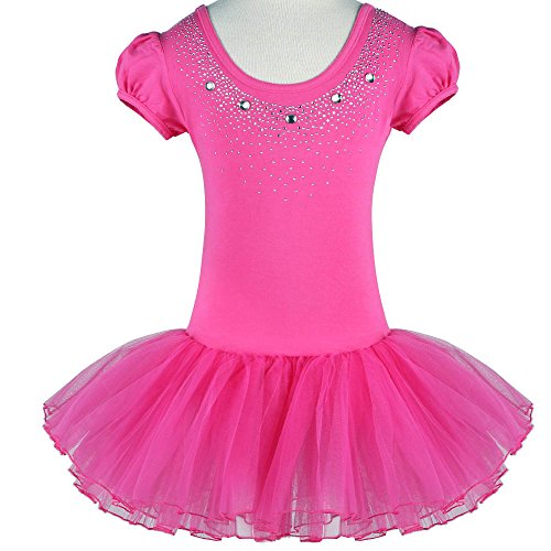 [Kids Rhinestone Sparkle Dance Costumes Short Sleeve Tutu Ballet Dress for Little Girls 3-8 Years B093_HotPink_XXL] (Lycra Dance Costumes)