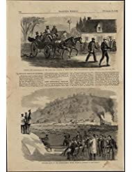 Sculling Race Rowing Crew Horse Carriage nice 1867 great old print for display
