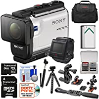 Sony Action Cam HDR-AS300R Wi-Fi HD Video Camera Camcorder & Live View Remote with Helmet Mounts + 64GB Card + Battery + Case + Selfie Stick + Tripod Kit