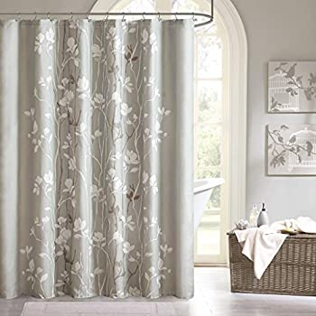 Madison Park Vaughn Floral Tree Grey Shower Curtain Casual Curtains For Bathroom 72 X Gray