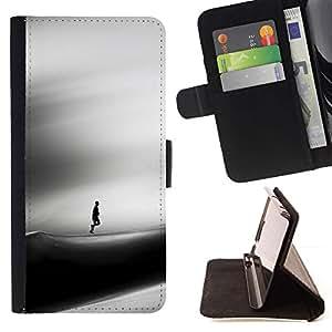 For Samsung Galaxy S6 EDGE (NOT S6) Plus / S6 Edge+ G928 Case , Triste Dune Desert Hombre Viento Arte Negro- la tarjeta de Crédito Slots PU Funda de cuero Monedero caso cubierta de piel