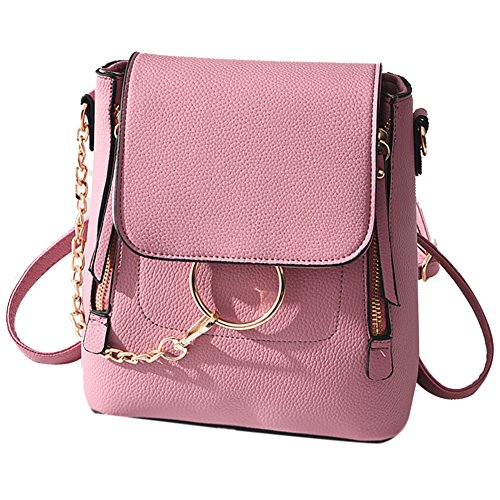 f5cb3450e1b7 Galleon - SCENTW Fashion Women Crossbody Backpack Purse Small Pu Leather  Shoulder Bag Ladies Cute Chain Satchel Bag (Fashion Pink)