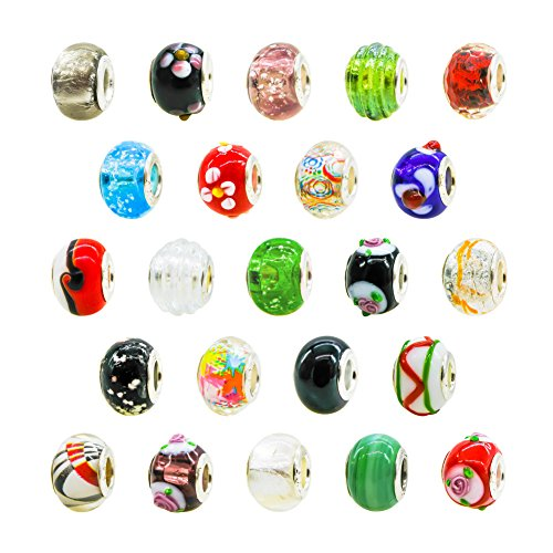 TOAOB 50pcs Silver Plated Spacer Glass European Beads 14mm Large Hole Assorted Fit Snake Chain Charm ()