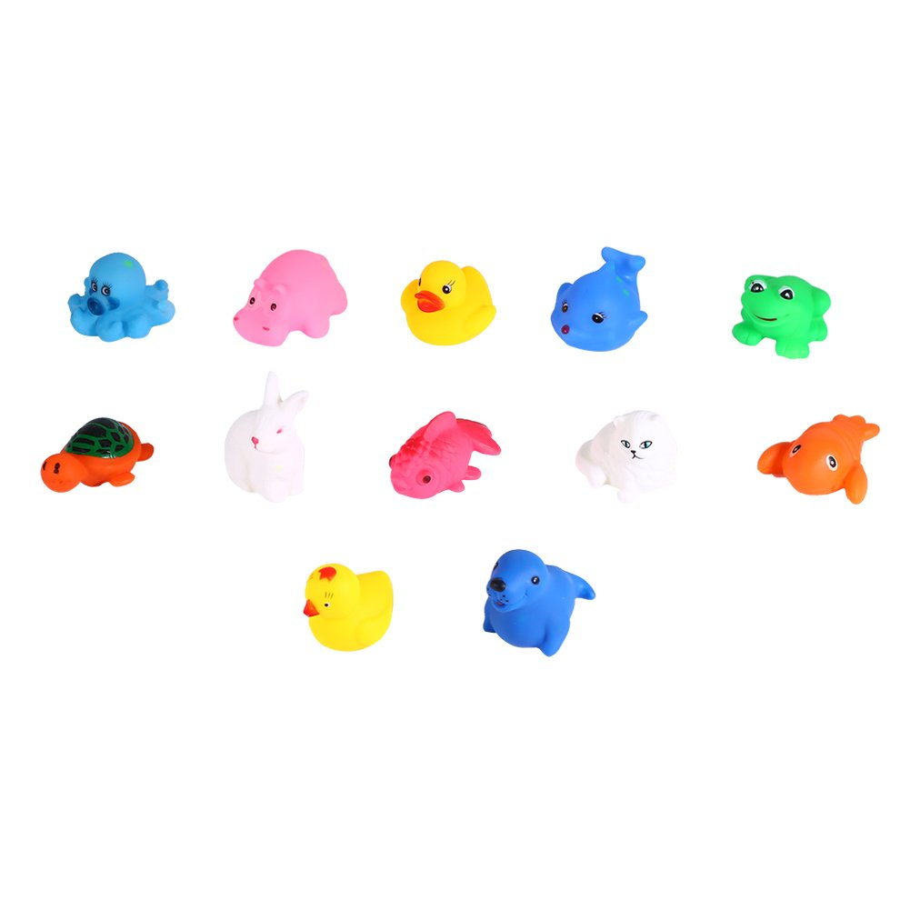 12Pcs Colorful Baby Bath Toys Squirts Fun Toy Children Squeeze Sound Animal Shaped Floating Toys DKFDS