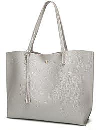 Women's Soft Leather Tote Shoulder Bag from Dreubea, Big Capacity Tassel Handbag