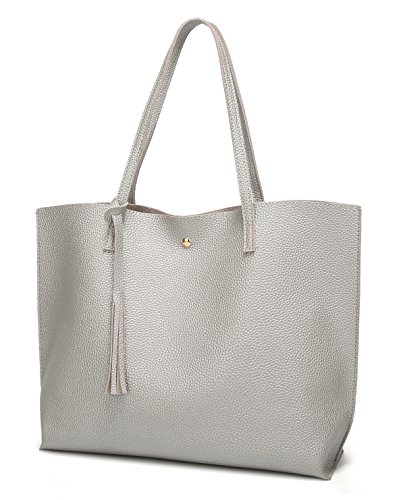 (Women's Soft Leather Tote Shoulder Bag from Dreubea, Big Capacity Tassel Handbag Silver)
