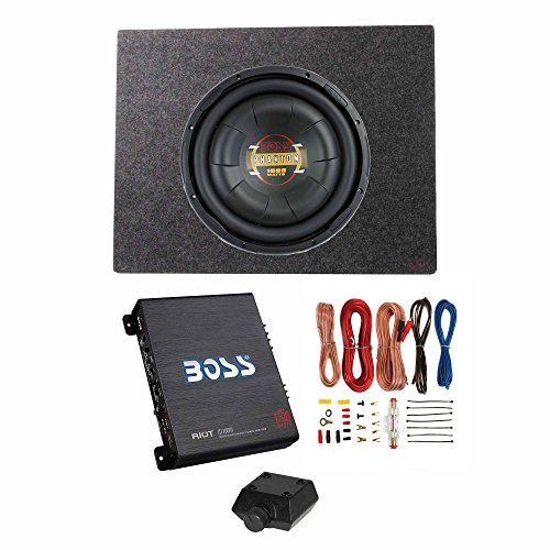 Boss Audio 12 Inch 1000W Subwoofer   Shallow Enclosure   Amplifier   Wire Kit