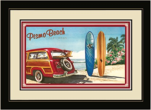 Northwest Art Mall BGR Pismo Beach California Woodie Car & Surfboards Framed Wall Art by Artist Evelyn Jenkins Drew, 16