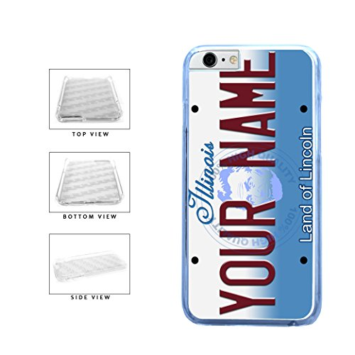 BleuReign(TM) Personalized Custom Name Illinois State License Plate Clear Sides Plastic Phone Case Back Cover For Apple iPhone 6 Plus and iPhone 6s Plus (5.5 Inches Screen) -