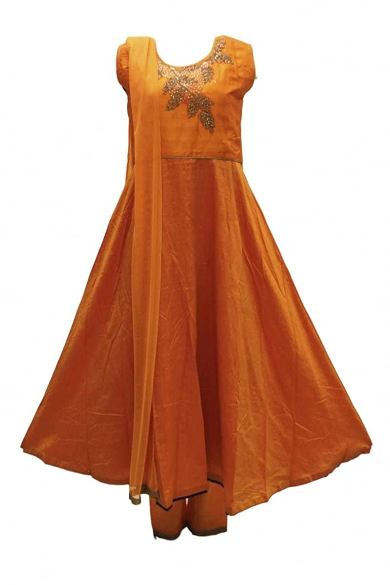 DCS2074 Costume churidar orange et or Indian Bollywood