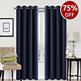 #9: EASELAND Blackout Curtains 2 Panels Set Room Darkening Drapes Thermal Insulated Solid Grommets Window Treatment Pair for Bedroom, Nursery, Living Room,W52xL84 inch,Navy