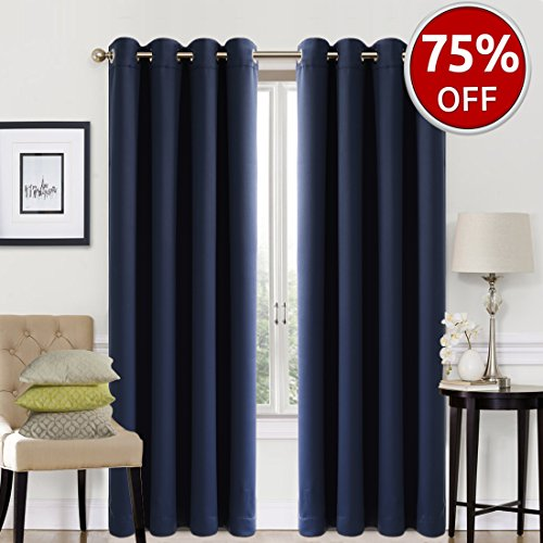 Blackout Curtains 2 Panels Set Room Darkening Drapes Thermal Insulated Solid Grommets Window Treatment Pair for Bedroom, Nursery, Living Room,W52xL95 inch,Navy (Ideas Living Blue Curtain For Room)