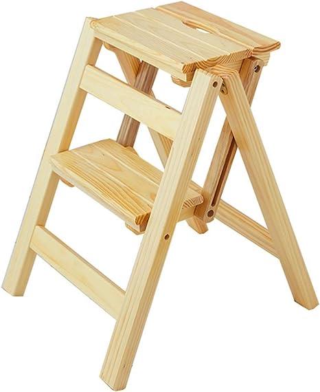 Estante Escaleras de tijera Taburete de escalera portátil plegable de madera Taburete de madera for escalar en casa Taburete multifunción de 2 escalones Taburete de pesca Inicio Pasos plegables conven: Amazon.es: Hogar