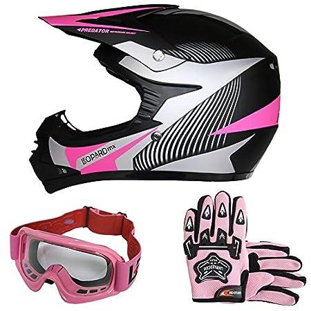 Leopard LEO-X19 PREDATOR Kids Motocross HELMET & GLOVES & GOGGLES Pink XL (55cm) Children Quad Bike ATV Go Karting Helmet Touch Global Ltd