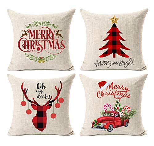Kithomer Set of 4 Christmas Pillow Covers Buffalo Plaid Farmhouse Decorative Cotton Linen Throw Pillow Cases 18 x 18 Inch Christmas Home Decoration from Kithomer