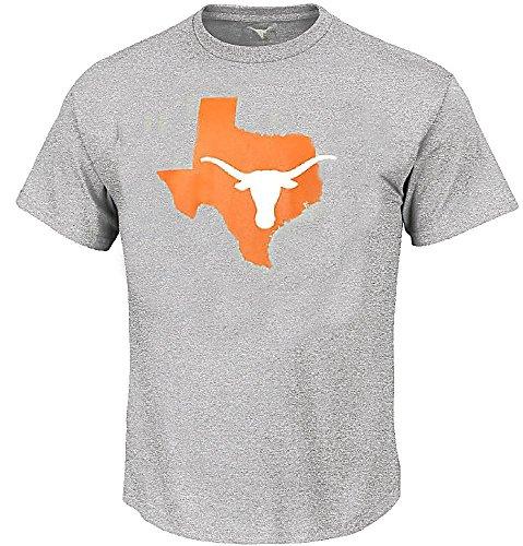289c Texas Longhorns Adult Athletic Grey Longhorn State Short Sleeve T Shirt (Large) ()