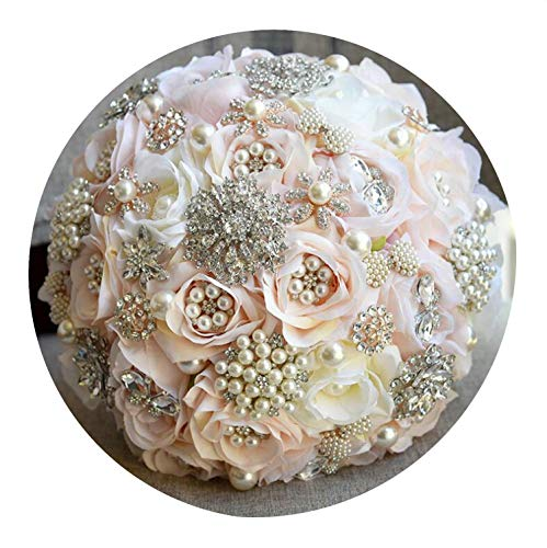 Silk Cascading Ruffle Dress - Round Blush Wedding Bouquet for Brides Teardrop Butterfly Brooch Bouquet Alternative Cascading Bouquets Crystal Wedding Flowers,Style 1