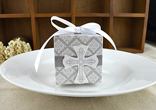 (50pcs First Communion favor cross candy box Christening baby shower wedding party bomboniere wrap holders with)