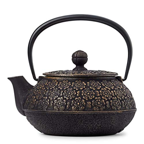 - SKÖN Cast Iron Teapot & Matching Trivet (34-Ounce; Black & Gold Floral)