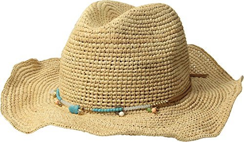 (San Diego Hat Company Women's RHC1090OS Crochet Raffia w/Beaded Trim and Faux Suede Tie Natural One Size)