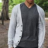 Men's 100% Cashmere Cardigan, Hand-Knitted, Open Neck, Buttoned, 26/2 Mongolian Yarn, Off-white © Moksha Cashmere