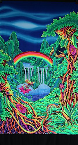 Psychedelic Tapestry 'Rainbow Falls' - Hand-painted and silkscreen batik wall-hanging - UV active wall-hanging -Trippy wall art - Black light active trippy tapestry - Fantasy tapestry