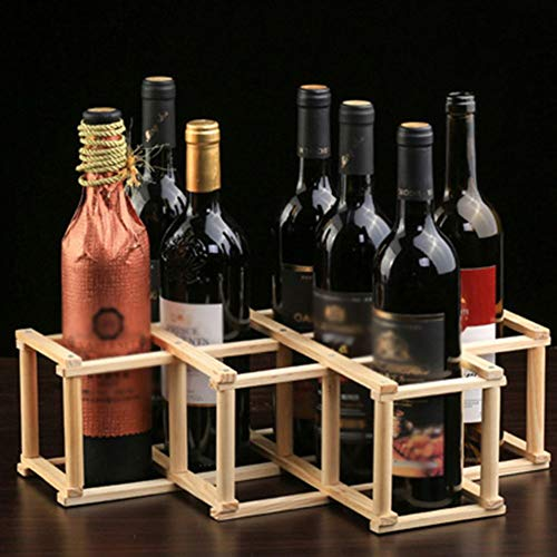 Wood Wine Rack 10-Bottle Holder Foldable Free Standing Home Kitchen Cabinet Wooden Racks Stand Storage Rustic Countertop Decor Organizer-Natural Wood