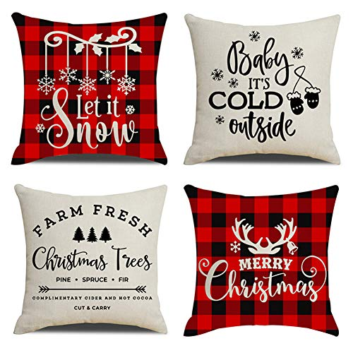 KACOPOL Christmas Decorations Pillow Covers Red Black Buffalo Check Plaid Christmas Quotes Farmhouse Decor Cotton Linen Throw Pillow Case Cushion Cover 18