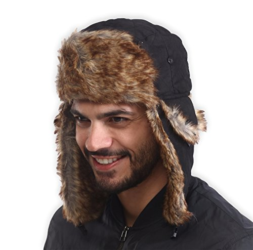 Hat Fur Quilted (Trapper Hat - Winter Trooper Ushanka with Faux Fur & Ear Flaps - Russian Aviator Snow Hat for Hunting, Skiing & Cold Weather Activities - Waterproof, Windproof & Thermal - Fits Men, Women & Elmer Fudd)