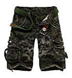 METERDE Men's Camo Army Summer Casual Sports Pocket Cargo Shorts Green 34