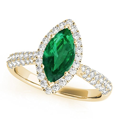 0.80 Ct. Ttw Elegant Look Diamond And Marquise Shape Created Emerald Ring In 10k Yellow Gold