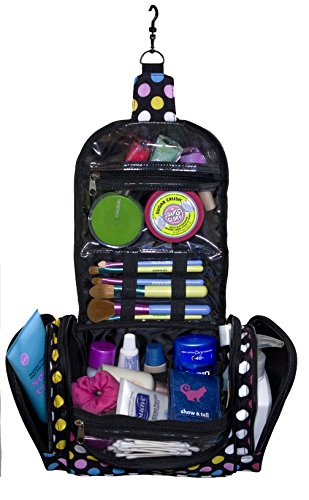 Cosmetic Bag - MakeUp Organizer - Lightweight Hanging Toiletry Travel Bag with Multiple Compartments in Polka Dot, Durable, Stylish & Fun by show & tell (Image #1)
