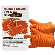 BBQ Gloves, Amado Barbecue Gloves Silicone Mitts Heat Resistant Cooking Gloves (Orange)