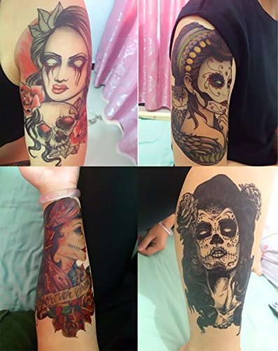 DaLin Temporary Tattoos Day of the Dead Halloween 4 Sheets (Lady 1)