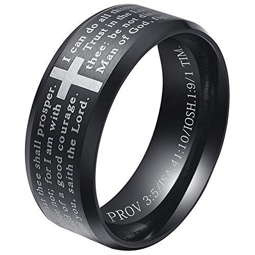 LANHI PHILIPPIANS 4:13 Mens Stainless Steel Christian Scripture Cross Ring Beveled Edge Prayer Ring