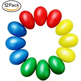 Kabi 12pcs Plastic Egg Shakers Set with 4 Different Colors,Percussion Musical Egg Maracas Child Kids Toys