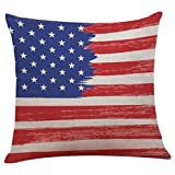 #5: Independence Day Pillow Case 18x18, Elevin(TM) New Vintage Patriotic American Flag Pillow Cases Cotton Linen Sofa Cushion Cover Home Decor