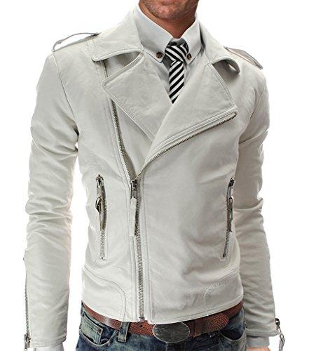 Mens White Leather Motorcycle Jacket - 9