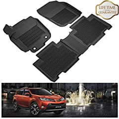 KIWI MASTER RAV4 floor mats protect the vehicle's driver and passenger floors. Made of TPE material, these mats will hold up to the harsh elements, preventing stains and moisture to the original factory carpets. Easily clean mats with soap an...