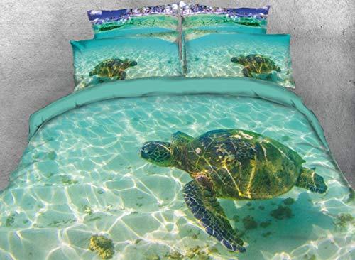 Beddinginn 3D Turtle Bedding Queen Animal Print Kids Duvet Cover Set Turtle in The Blue Limpid Ocean Print 4pcs Bed Cover Set No Comforter(Queen - Queen Sheets Turtle Ninja
