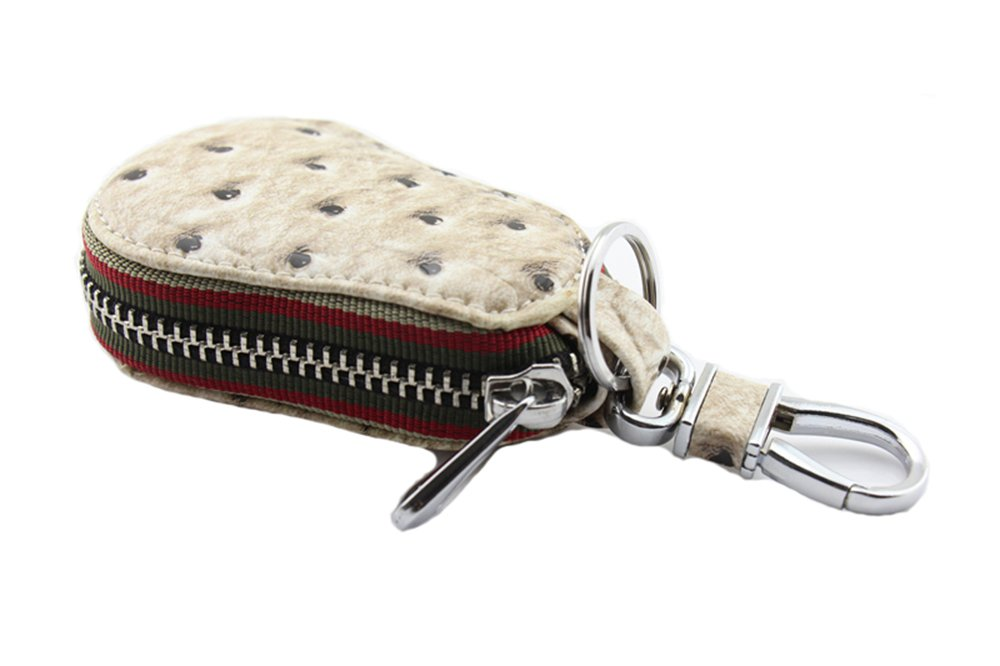 Genda 2Archer New Leather Key Chains Zipper Case Pocket Key Bag (White)
